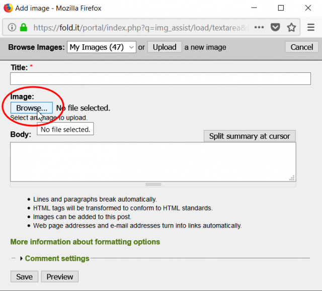 Add image page dialog